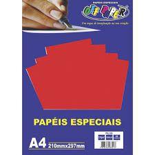 Papel A4 120g 20fls Plus Vermelho - Off Paper