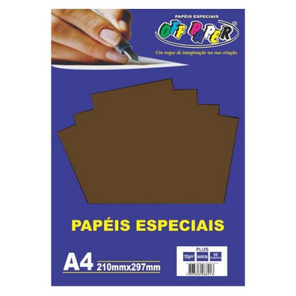 Papel A4 120g 20fls Plus Marron - Off Paper