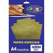 Papel A4 30g 10fls Feltro Ouro - Off Paper