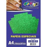 Papel A4 180g 5fls Glitter Verde - Off Paper