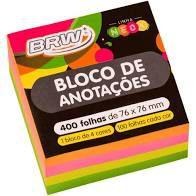 Bloco Anotacao 76x76mm C/400 Cube Colorido - Brw