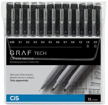 Estojo C/12 Caneta Tecnica Graf Tech - Cis