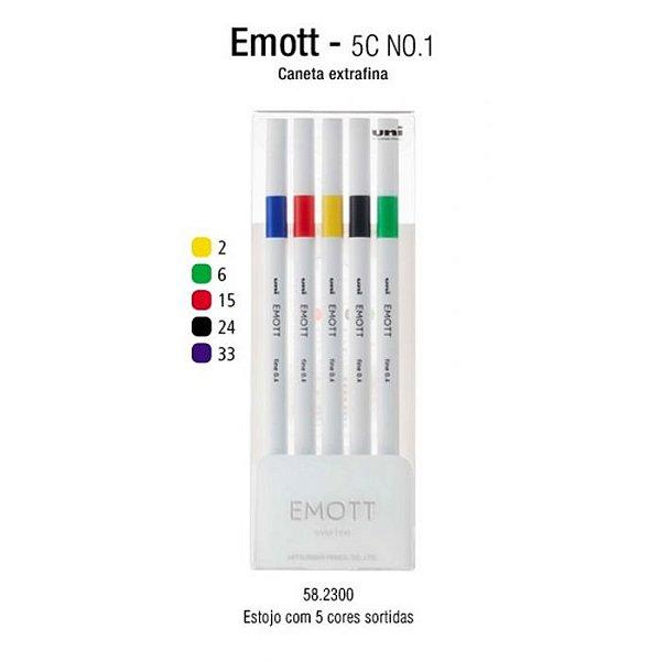 Estojo C/5 Canetas Emott 0,4mm Vivid Colors - Uni