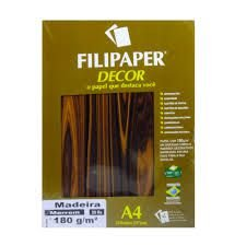 Papel A4 180g 20f Madeira Marrom - Filipapers