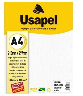 Papel Linho A4 180g/m2 50fls Branco - Usapel