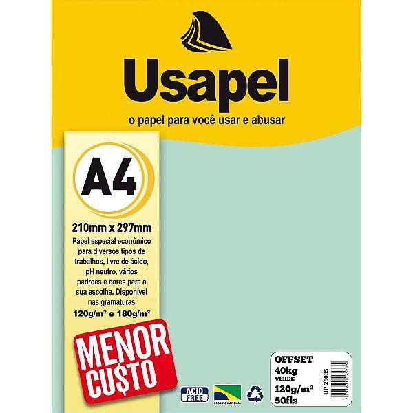 Papel Offset A4 120g 50f 40k Verde - Usapel