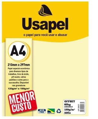 Papel Offset A4 180g 50f 60k Amarelo - Usapel
