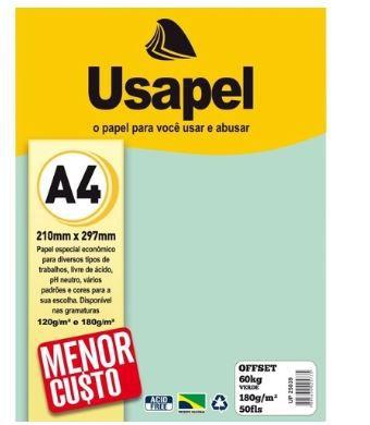 Papel Offset A4 180g 50f 60k Verde - Usapel