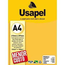 Papel Perola A4 180g/m2 30f Amarelo Ouro - Usapel