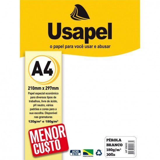 Papel Perola A4 180g/m2 30f Branco - Usapel