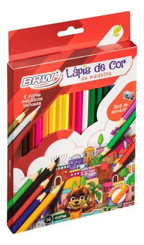 Lapis De Cor De Madeira C/36 Cores - Brw