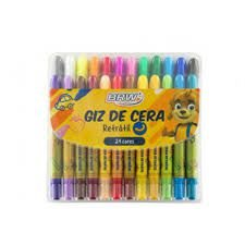 Giz De Cera Retratil C/24 Cores - Brw