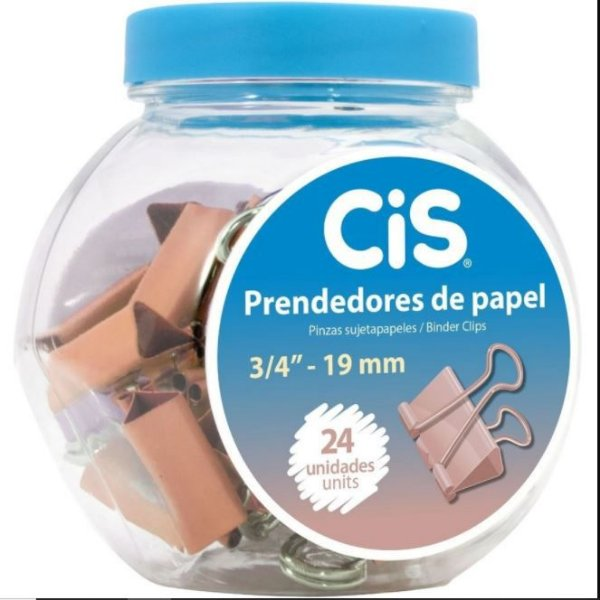 Binder Clips 19mm C/24 Metal Rose - Unidade - Cis