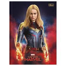 Caderno Broc Cd 1m 80f Captain Marvel - Tilibra