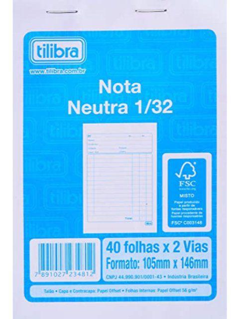 Bloco Nota Neutra 1/32 2 Vias Pequeno - Tilibra