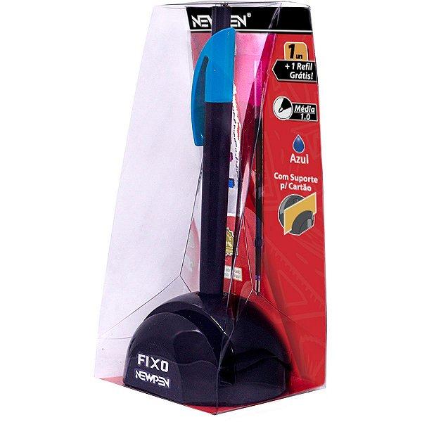 Caneta Fixo C/corrente C/recarga Azul Neon -newpen