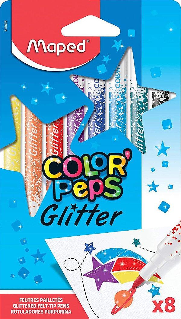 Estojo Caneta Hidrografica C/8 Peps Glitter -maped