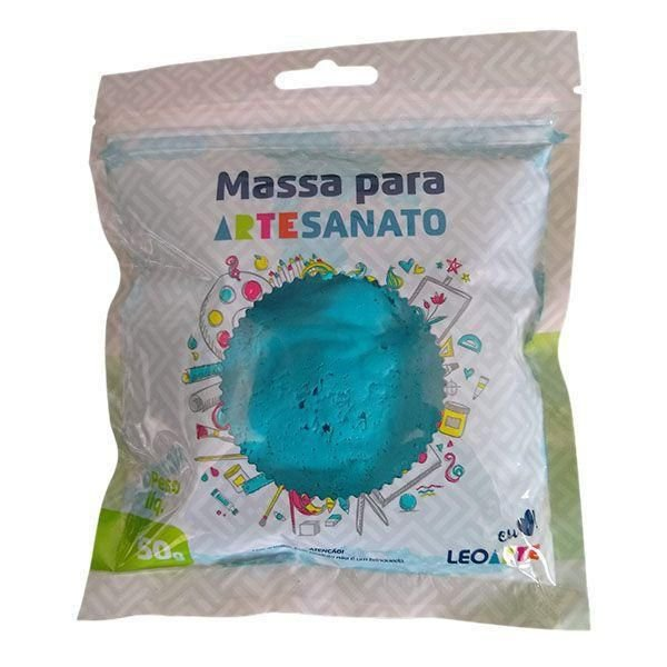 Massa E V A 250g Liso Azul Piscina - Leoarte