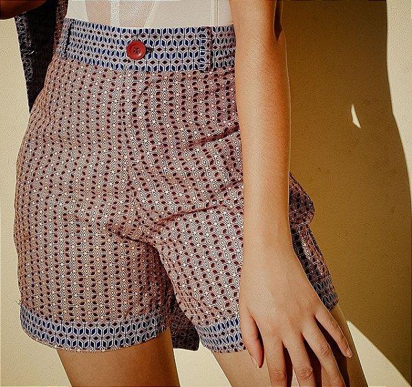 Shorts/Bermuda - estampa Geometria Vinho