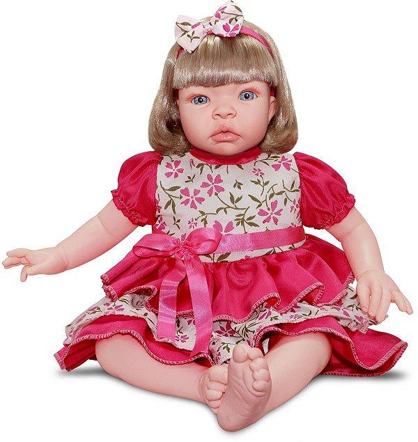 Boneca Realista Baby Kiss Loira 50cm Chora e Balbucia