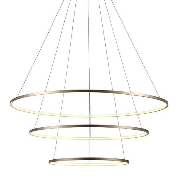 Lustre Pendente Anel Dourado 3 Arcos 39w 80cm Birdie Bella