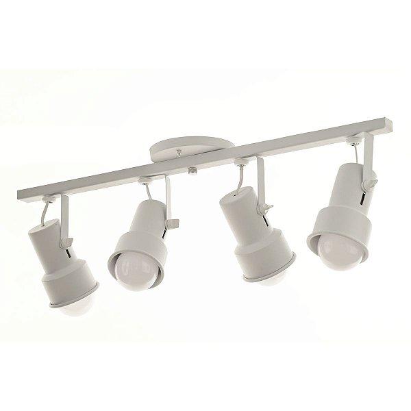 Lustre Spot Trilho Alumínio Branco 4 Lâmpadas Direcionável E27