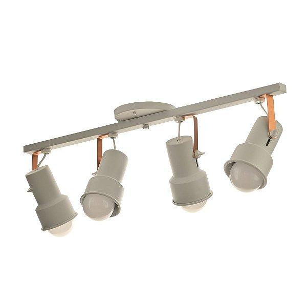 Lustre Spot Trilho Alumínio Branco Cobre 4 Lâmpadas Direcionável E27