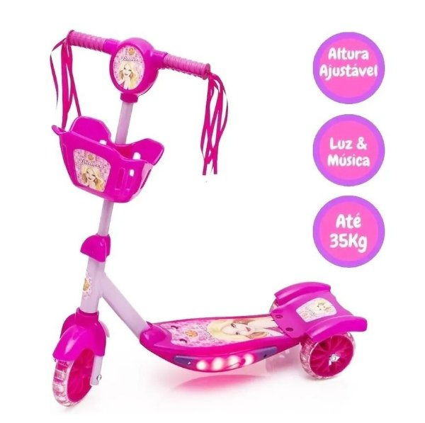 Patinete Rosa Com Cesta 3 Rodas Infantil Som Musical Com Luzes