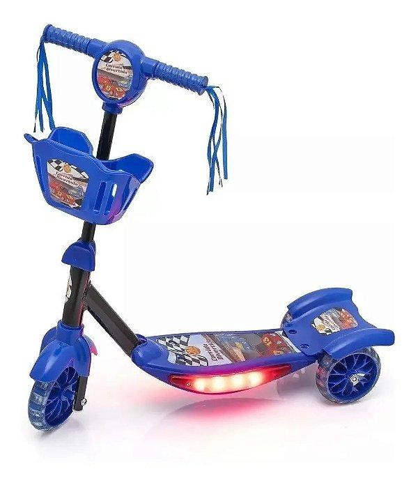 Patinete Azul Com Cesta 3 Rodas Infantil Som Musical Com Luzes