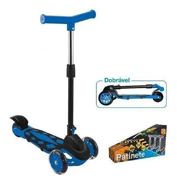 Patinete Radical Power Azul Ajustável a Dobrável Trinete 3 Rodas