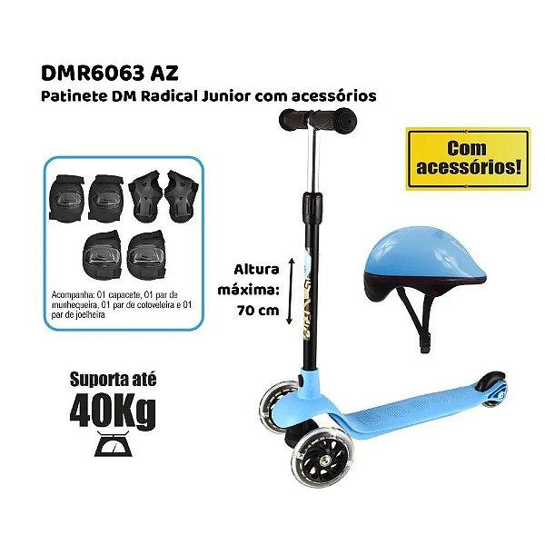 Patinete Infantil Radical Junior DM Toys Azul + Kit Proteção