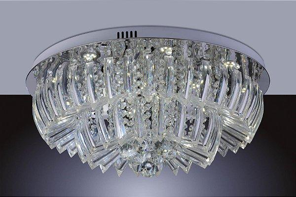 Plafon em Acrílico Transparente Ingrid Led 36w 6500k Redondo 60cm Luz Branca