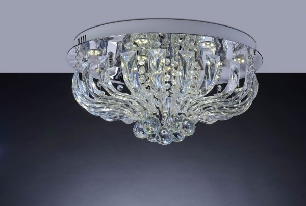 Lustre Acrílico Transparente Marilyn Led 30w 45cm Luz Amarela