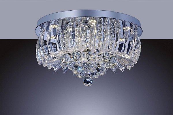 Lustre Plafon Cristal e Acrílico Greta 24w 3000k Redondo 45cm Luz Amarela