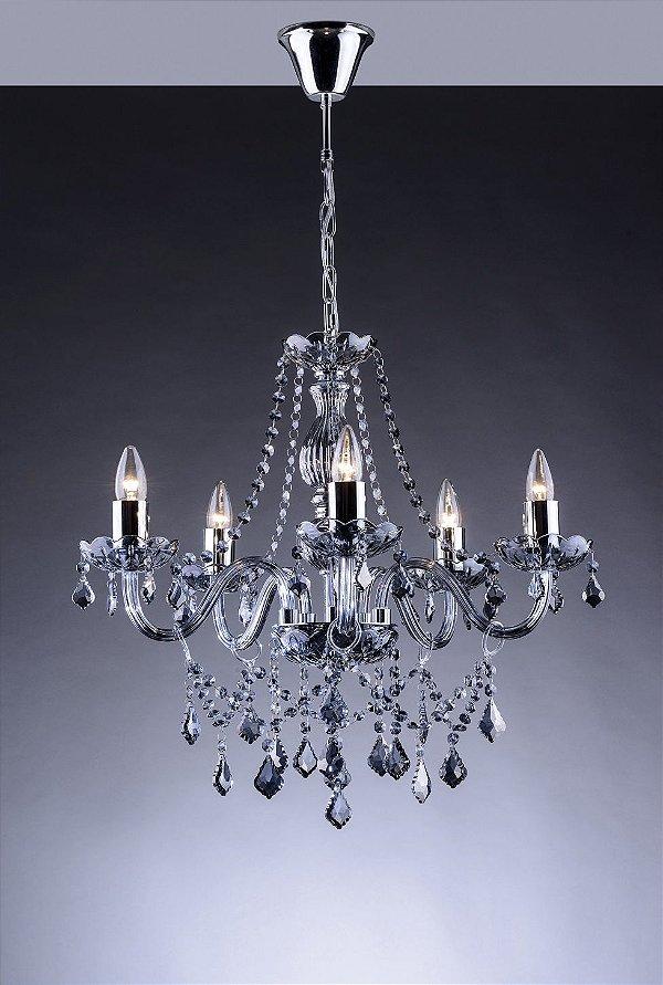 Lustre de Cristal para Sala Fumê 6 Braços