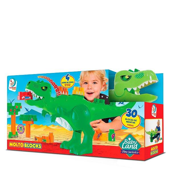 Babyland Dino Jurassic com 30 blocos Educativo