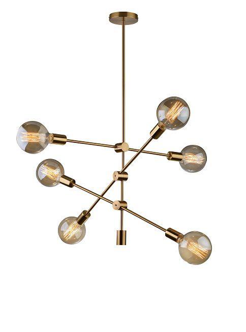Lustre Pendente Moderno Sala - Circuit p/ 6 Lâmpadas Dourado