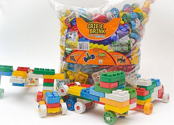 Blocos De Montar 504 Peças Grandes Brinquedo Educativo