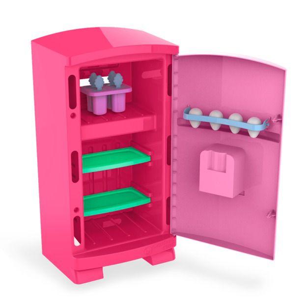 Geladeira Cozinha Brinquedo Infantil Grande Rosa 50cm