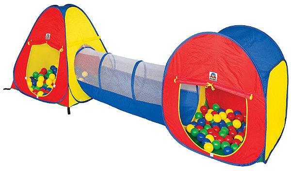 Toca Barraca Infantil 3 em 1 House Com 80 Bolinhas Coloridas