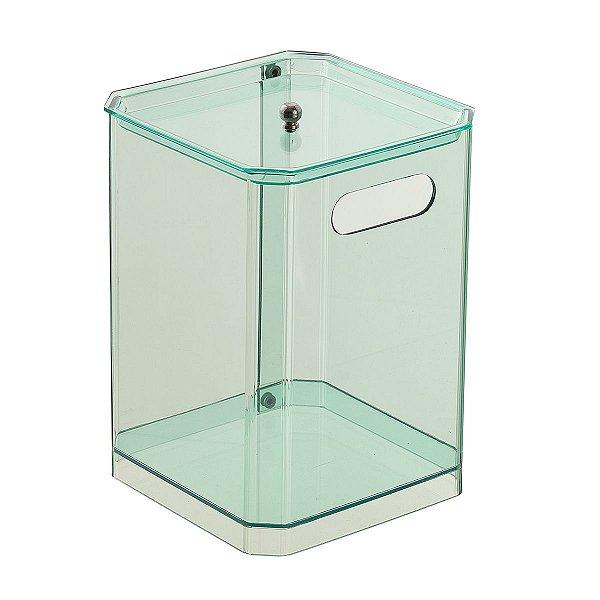 Cesto Quadrado 100% Acrílico para Escritório Banheiro Lavabo Verde