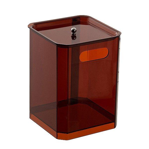 Cesto Quadrado 100% Acrílico para Escritório Banheiro Lavabo Bronze