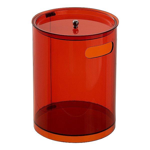 Cesto Redondo G 100% Acrílico p/ Escritório Banheiro Lavabo Bronze