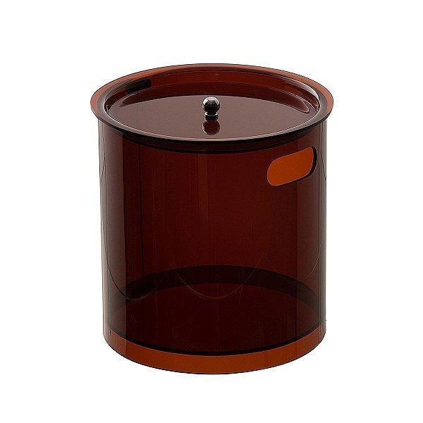 Cesto Redondo M 100% Acrílico p/ Escritório Banheiro Lavabo Bronze