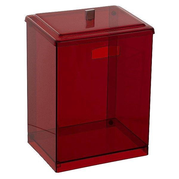 Cesto Retangular 100% Acrílico p/ Escritório Banheiro Lavabo Vermelho