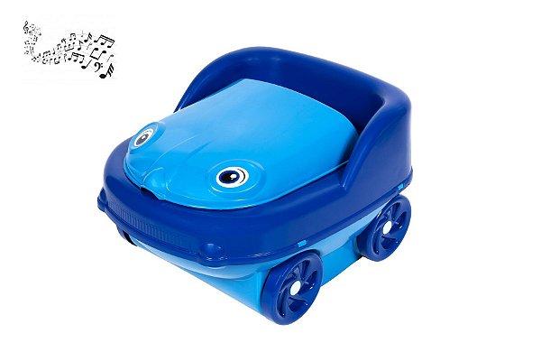 Troninho Infantil Musical 2 Em 1 Redutor De Assento Pinico Azul