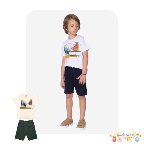 Conjunto Camiseta em meia malha e bermuda em moletom Trick Nick