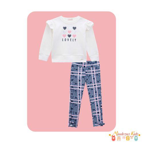 Conjunto de blusão e calça molecotton Lovely Infanti
