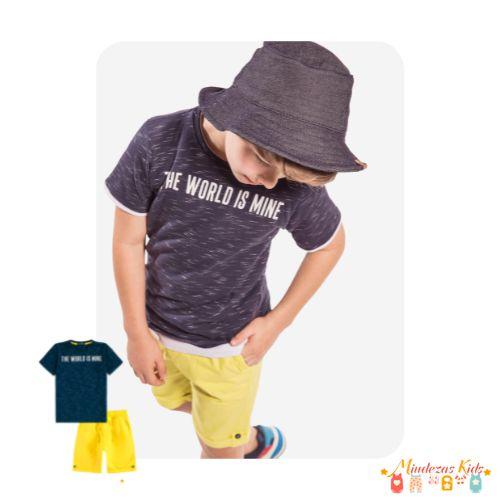 Conjunto de camiseta e bermuda em sarja Luc.boo