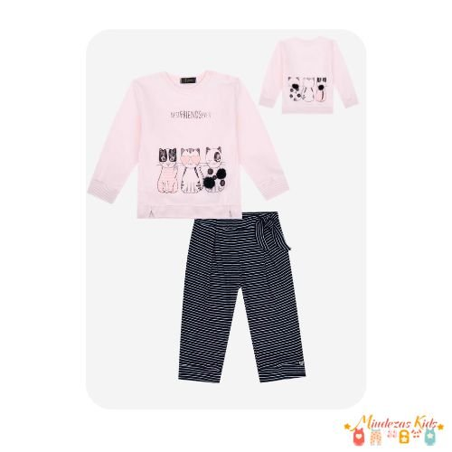 Conjunto de blusão em molecotton e calça em malha canelada Infanti
